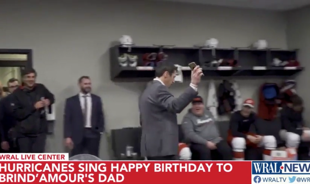 Hurricanes players sing happy birthday to Rod Brind'Amour's ailing father following huge win